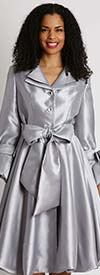 Diana 8222-Silver - Pleated Jacket Dress With Layered Notch Lapel & Sash