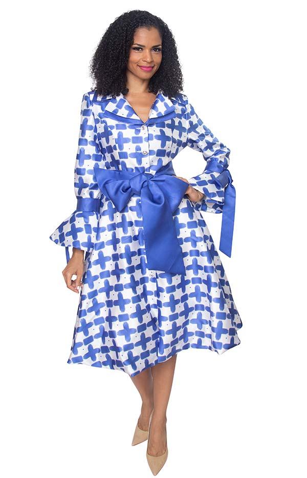 Diana 8222-RoyalWhite - Pleated Jacket Dress With Layered Notch Lapel & Sash