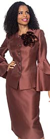 Diana 8277 - Womens Skirt Suit With Fabric Flower & Layered Flounce Bell Sleeves