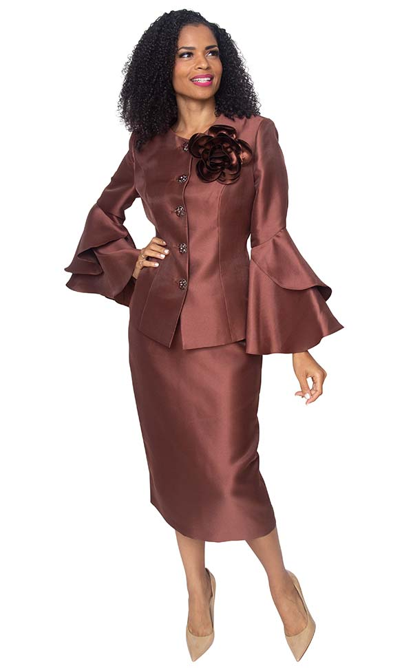 Diana 8277-Brown - Womens Skirt Suit With Detachable Fabric Flower & Layered Flounce Bell Sleeves