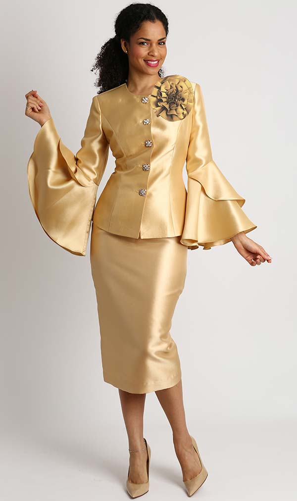 Diana 8277-Gold - Womens Skirt Suit With Detachable Fabric Flower & Layered Flounce Bell Sleeves