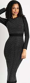 Diana 8303-Black - Long Sleeve Embellished Pencil Dress