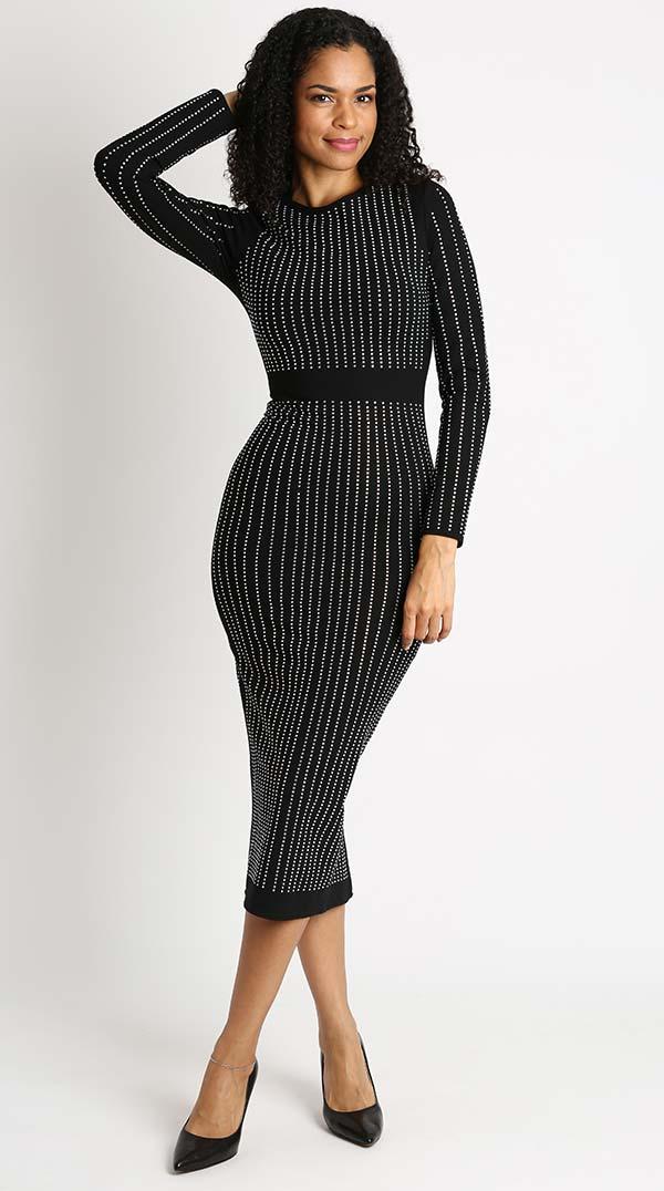 Diana 8303-Black - Long Sleeve Embellished Pencil Dress