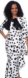 Diana 8346 - Ruffle Flounce Polka Dot Dress With Bow Adorned Neckline Detail