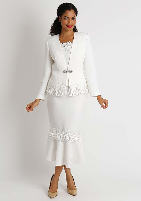 Diana 8426-Ivory - Womens Flounce Hem Skirt Suit With Loop Trim Detail