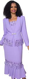 Diana 8426-Lavender - Womens Flounce Hem Skirt Suit With Loop Trim Detail