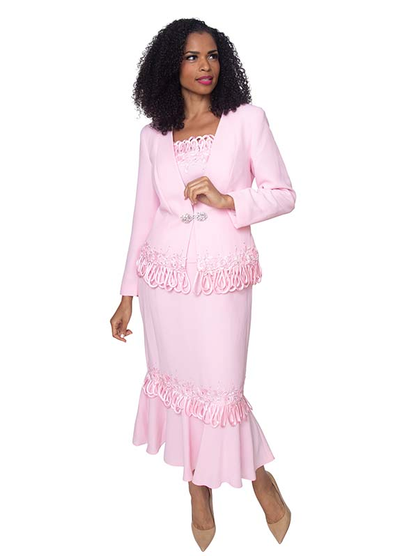 Diana 8426-Pink - Womens Flounce Hem Skirt Suit With Loop Trim Detail