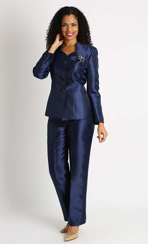 Diana 8428-Navy - Womens Pant Suit With Star Neckline Jacket