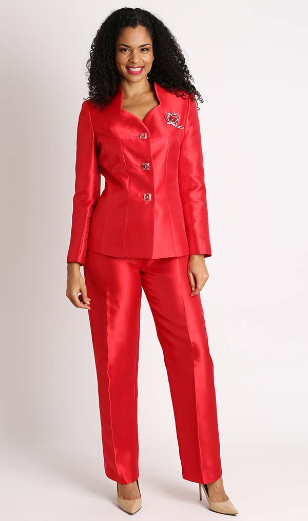 Diana 8428-Red - Womens Pant Suit With Star Neckline Jacket