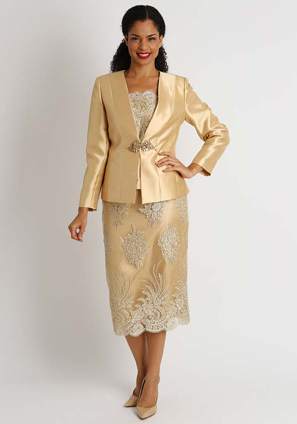 Diana 8448 - Womens Skirt Suit With Lace Accents