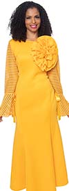 Diana D1054-Mustard - Flared Dress With Organza Inset Striped Detail Sleeves Adorned With Bows And Fabric Flower