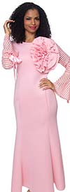 Diana D1054-Pink - Flared Dress With Organza Inset Striped Detail Sleeves Adorned With Bows And Fabric Flower