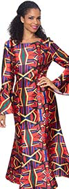 Diana D2012 - Multi Color Pattern Design Dress With Flounce Bell Sleeves