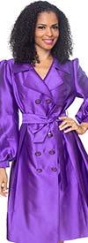 Diana J2013-Purple - Womens Coat Style Dress With Notch Lapel & Sash