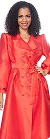 Diana J2013-Red - Womens Coat Style Dress With Notch Lapel & Sash