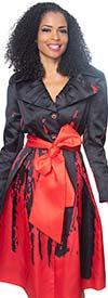 Diana J2015 - Womens Coat Style Jacket Dress With Pleated Notch Lapel & Sash