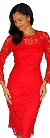 Diana 7069-Red - Womens Long Sleeve Lace Dress