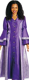 Diana 8147-Purple - Womens Church Robe With Cross Accents And Layered Sleeves
