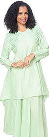 Diana 8218-Sage - Linen Tunic And Skirt Suit