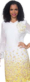 Diana 8503-WhiteBanana- Bell Sleeve Dress With Floral Print And Fabric Flower Adornment