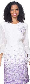 Diana 8503-WhiteLavender - Bell Sleeve Dress With Floral Print And Fabric Flower Adornment