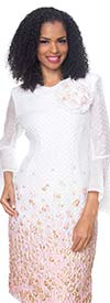 Diana 8503-WhitePink- Bell Sleeve Dress With Floral Print And Fabric Flower Adornment
