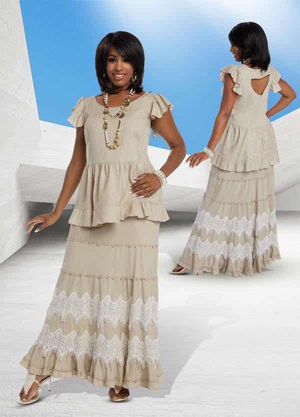 Lisa Rene 3325 - Ruffle Cap Sleeve Top & Skirt Set With Guipure Lace Trims