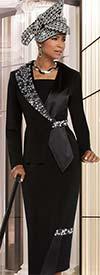 Clearance Donna Vinci 11620 Womens Peach Skin Skirt Suit With Elaborate Rhinestone Embellishments