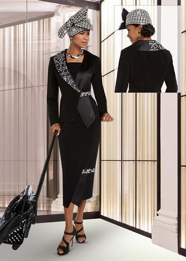 Donna Vinci 11620 Womens Peach Skin Skirt Suit With Elaborate Rhinestone Embellishments