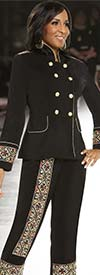 Donna Vinci 11662 Womens Multicolor Accented Pant Suit With Swan Neck Collar