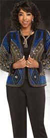 Donna Vinci 11663 Multicolor Stone Embellished Womens Pant Suit