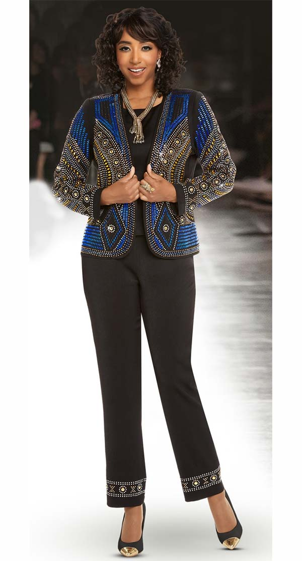 Donna Vinci 11663 Multicolor Stone Embellished Womens Pant Suit