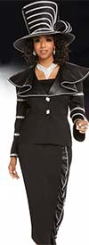 Donna Vinci 11671 Wide Collar Womens Suit With Faux Leather Accents