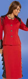 Donna Vinci 11672 Womens Skirt Suit With Layered Ruffle Adornments