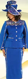 Donna Vinci 11673 Multicolor Stone Embellished Church Suit With Cape Style Jacket