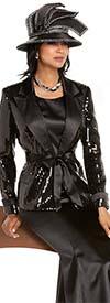 Donna Vinci 11675 Peak Lapel Skirt Suit With Sequin & Bridal Satin Fabric