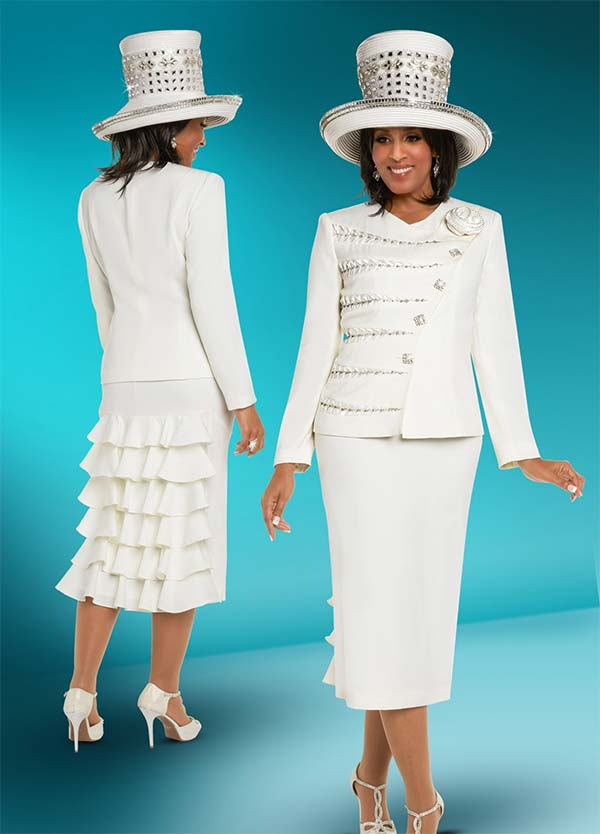 Donna Vinci 11684 Womens Church Suit With Ruffle Accents & Intricate Jacket Insets