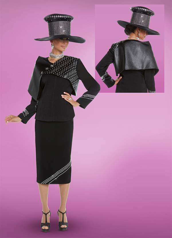 Donna Vinci 11687 Womens Suit With Faux Leather Accented Asymmetric Capelet