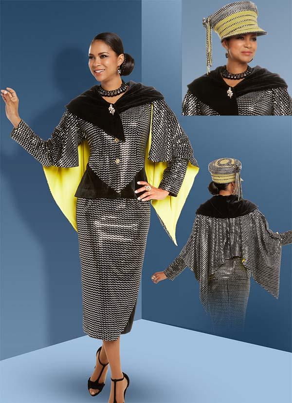 Donna Vinci 11689 Exclusive Novelty Velvet Silver Trimmed Caped Skirt Suit