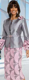 Donna Vinci 11697 Ruffle Puff Sleeve Womens Suit With Printed Skirt