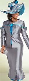 Donna Vinci 11699 Pleated Flounce Skirt Suit With Rhinestone Embellishments