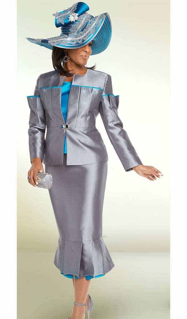 Donna Vinci 11699 Pleated Flounce Skirt Suit With Rhinestone Embellishments