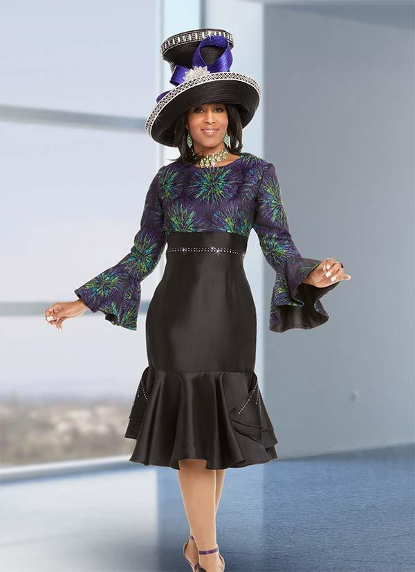 Donna Vinci 11701 Womens Firework Print Dress With Pleated Flounce Hem