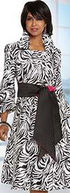 Donna Vinci 11703 Womens Animal Print Pleated Dress With Sash