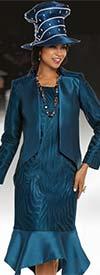 Donna Vinci 11704 Womens Mesh Body Dress With Handkerchief Flounce Hem