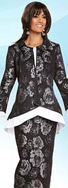 Donna Vinci 11707 Womens Floral Print Skirt Suit With Flared Jacket