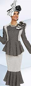 Donna Vinci 11708 Womens Polka Dot Print Suit With Flounce Hemlines
