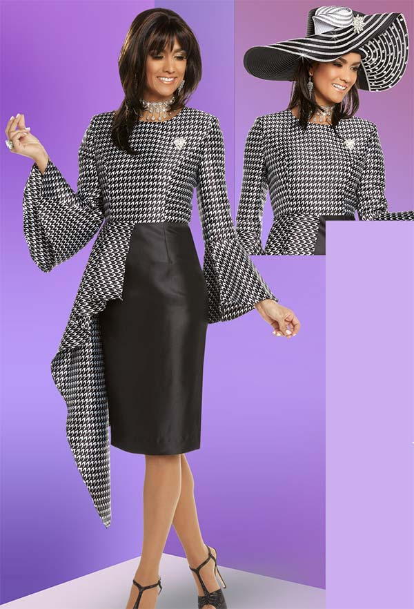 Donna Vinci 11711 Womens Houndstooth Print Dress Suit With Ruffled Accents