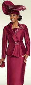 Clearance Donna Vinci 11714 Embellished Womens Church Suit With Cascading Collar