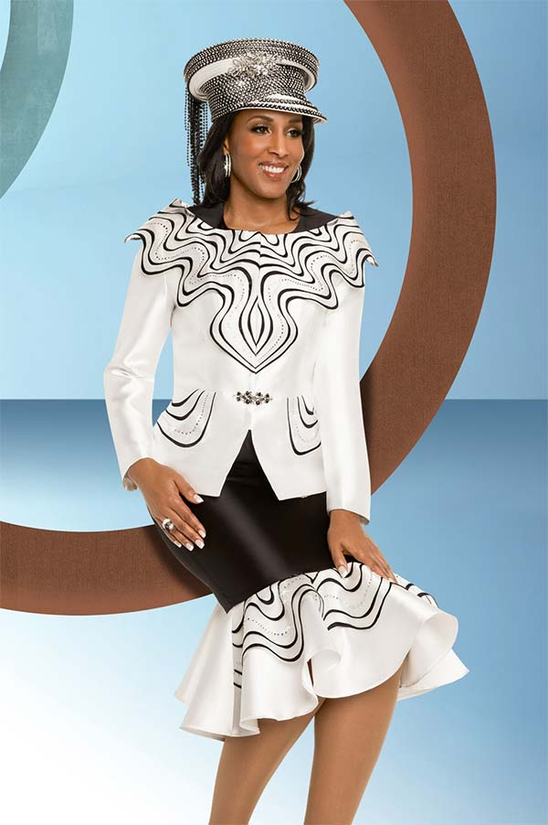 Donna Vinci 11717 Womens Ruffle Adorned Suit With Trumpet Flounce Hemline